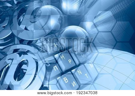 Computer background in blues - mail signs balls keyboard and buildings.