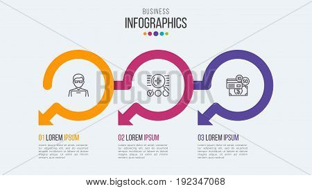 Three steps timeline infographic template with circular arrows. Vector illustration.