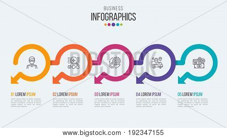 Five steps timeline infographic template with circular arrows. Vector illustration.
