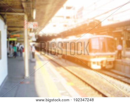 Abstract blur of Train at the station . with sun light .
