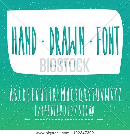 Handwritten vector font contains set of capital letters of English alphabet numbers and basic symbols. Hand drawn style. Scaling is small horizontal or large vertical