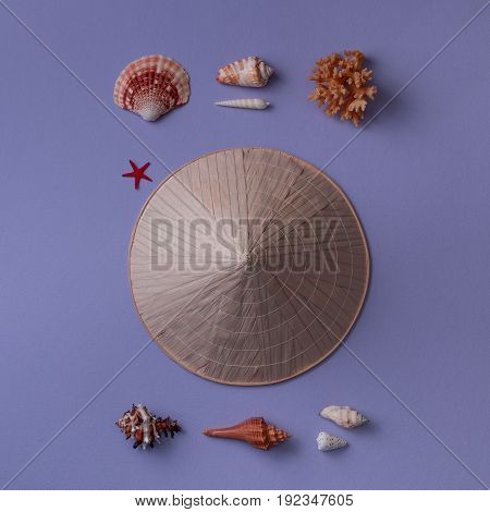 Asian Conic Straw Hat With Marine
