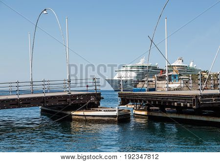 The Famous Pontoon Bridge in Curacao Closing