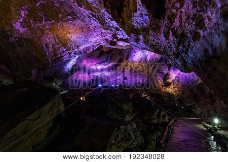 The colorful interior of the Katerinska cave in the Moravian Karst. Czech Republic