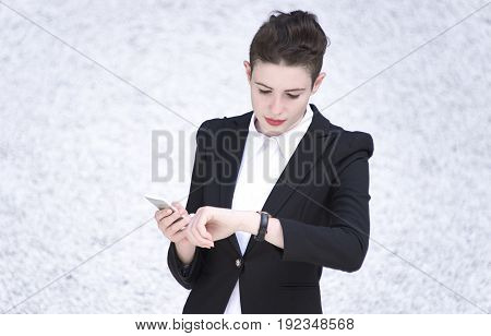 Business woman Business and time management concept.