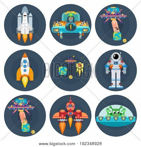 Space stars flat spaceships aliens and astronauts bright vector