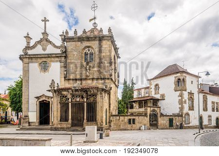 Churches Dos Coimbras and Sao Joao do Souto in the streets of Braga in Portugal