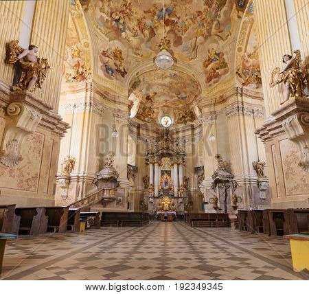 KRTINY, CZE - 15th JUNE 2017 Interior monastery in Krtiny Czech Republic. Virgin Mary Baroque monument. Architecture Jan Santini Aichel. Church monastery in Krtiny Czech Republic