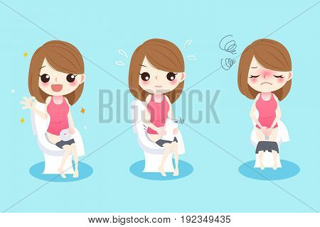 cute cartoon woman with constipation on the green background