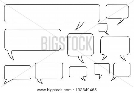 Set of vector speech text bubbles in square shape with rounded corners