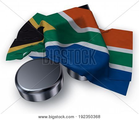 music note symbol and flag of south africa - 3d rendering