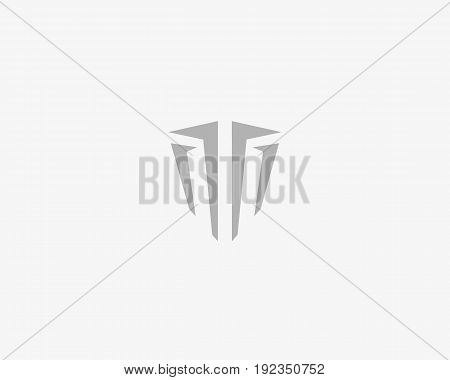 Abstract line shield universal solid logo design. Luxury business icon. Game protection helmet security vector logotype. Letter T symbol.