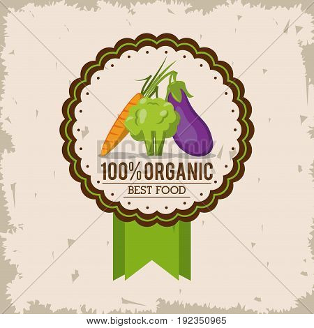 colorful logo of organic best food with carrot broccoli and eggplant vector illustration