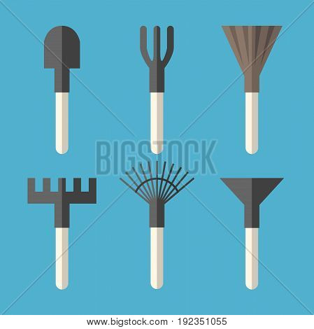 Various gardening tools set: spade ripper broom rake fan rake and hoe isolated on blue background. Flat design. Vector illustration. EPS 8 no transparency
