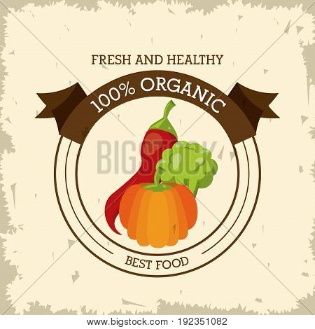 colorful logo of fresh and healthy organic food with chilli and broccoli and pumpkin vector illustration