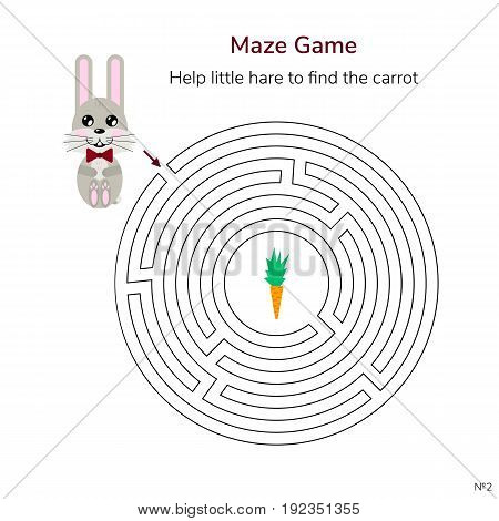 vector illustration. game for children. circular maze or labyrinth for kids. cartoon cute hare and carrot.