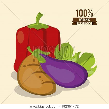 colorful poster of organic best food with peppers potato and eggplant vector illustration