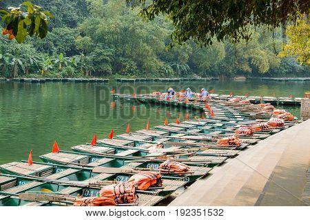 The small travel boat's pier of Tam Coc Bich Dong river Ninh Binh Vietnam