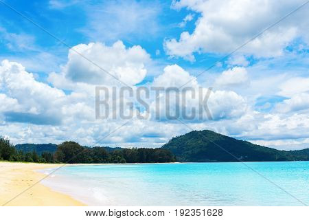 Sandy Beach Phuket Mai Khao Blue Sky Peaceful Sea