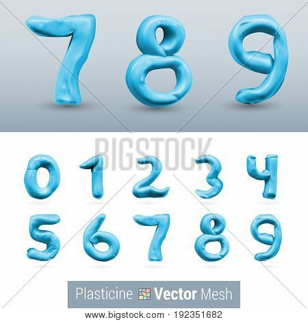 Numeral Blue Color Isolated on Background Set