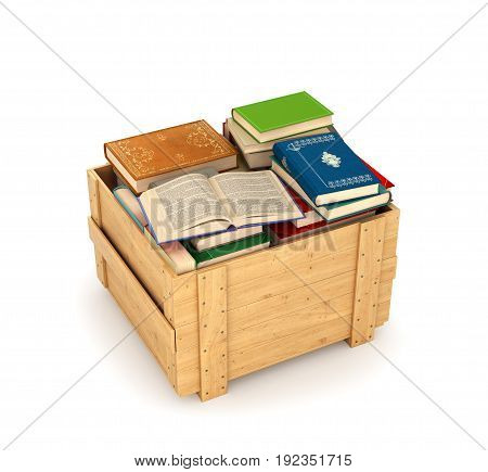 stack of books in wooden box. 3d illustration