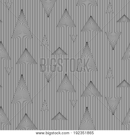 Abstract vector seamless op art pattern of triangles. Black and white moire ornament.