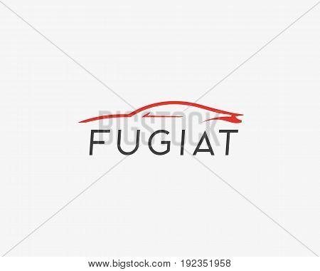 Abstract car vector logotype. Auto icon symbol. Linear silhouette logo design.