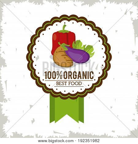 colorful logo of organic best food with peppers tomato and eggplant vector illustration