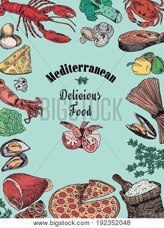 mediterranean delicious food, broccoli, calamari, cheese, crab, eggs, fish, flour, garlic, lettuce, lobster, mushroom, mussels, pattern, pepper, pizza, prawn, shell, shrimp, spaghetti, squid, tomatoes