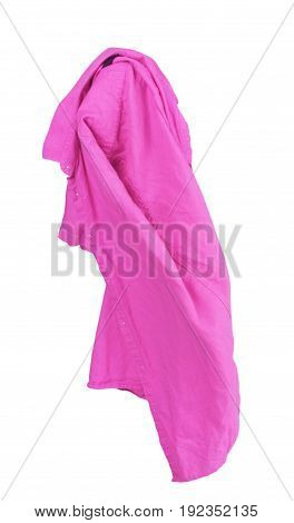 Blank violet shirt are falling through the air on an isolated white background