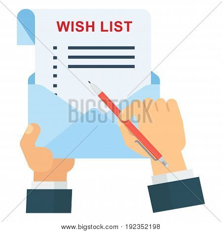Hand with Wish list and shopping schedule check list. Flat vector cartoon illustration. Objects isolated on a white background.