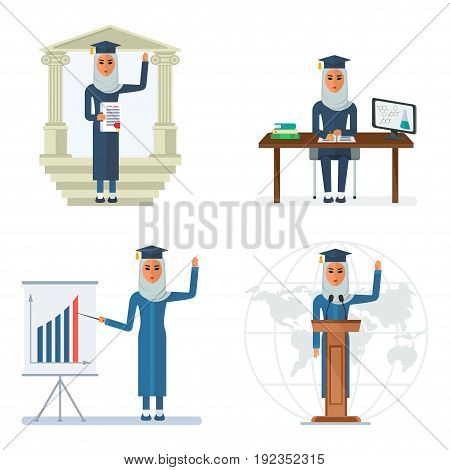 Arab girl studying at university. Muslim clothing. Flat vector cartoon illustration. Objects isolated on a white background.