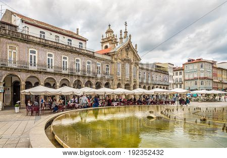 BRAGA,PORTUGAL - MAY 14,2017 - View at the Palace with Lapa church in Braga. Braga was under the Roman Empire known as Bracara Augusta.