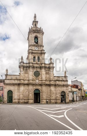 BRAGA,PORTUGAL - MAY 14,2017 - View at the Carmo Church in the streets of Braga in Portugal. Braga was under the Roman Empire known as Bracara Augusta.