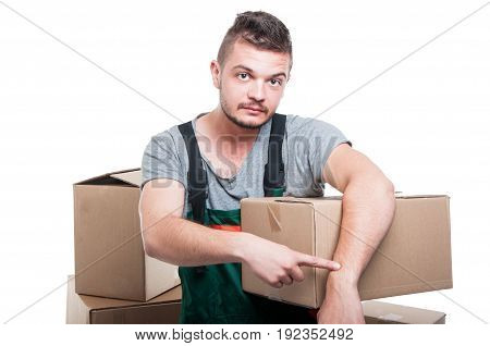 Mover Guy Holding Cardboard Showing Time