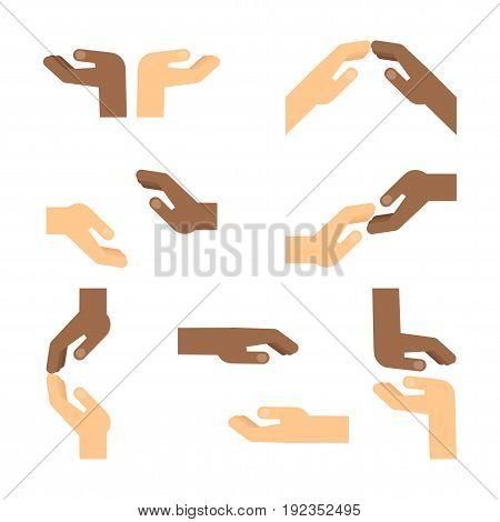 Set of gestures of African American hands express mutual assistance mutual understanding support and help tenderness. Flat vector cartoon hand illustration. Objects isolated on a white background.