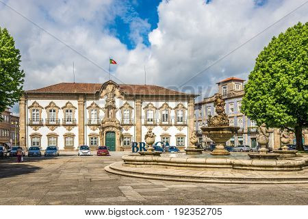 BRAGA,PORTUGAL - MAY 14,2017 - View at the City hall in Braga. Braga was under the Roman Empire known as Bracara Augusta.