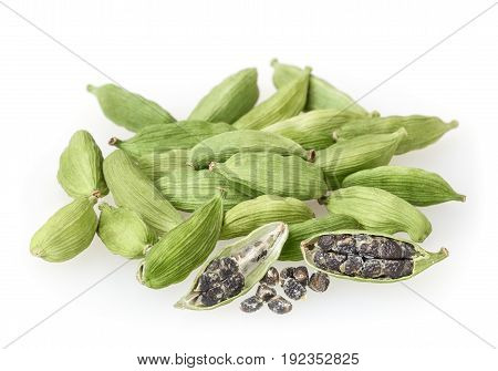Green cardamon pods isolated on white background