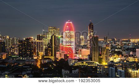 Cityscape With Light Show From Building Of Bangkok