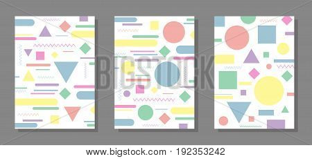 Geometric design background. Simple colorful shapes. Template for poster brochure cover textbook schoolbook etc. Vector illustration.