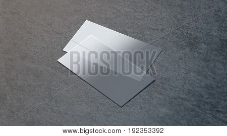 Blank plastic transparent business card mock up 3d rendering. Clear pvc namecard mockup on textured surface. Empty acrylic horizontal customer pasteboard template for your logo presentation.