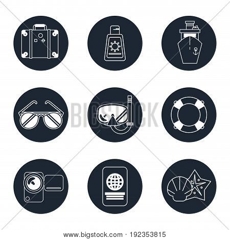 monochrome icons set of beach vacation in round frames vector illustration