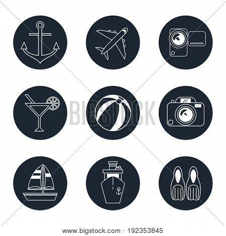 monochrome icons travel set in round frames vector illustration
