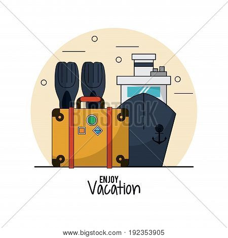 white background of enjoy vacation with fins and luggage and cruise vector illustration