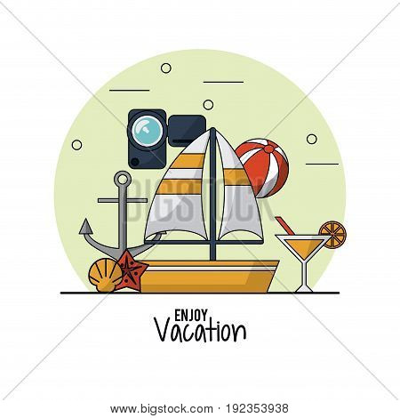 white background of enjoy vacation with sailboat and video recorder and anchor and beach ball and cocktail vector illustration