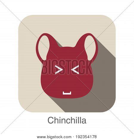 Chinchilla animal face flat icon, vector illustration