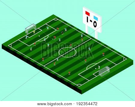 Isometric Soccer Competition On Green Field With Red & Blue Players Referee And Goalkeepers Including Score Board