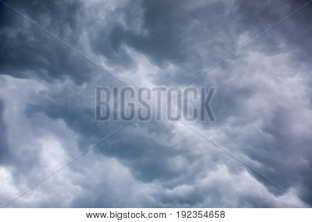 Overcast sky before storm and hurricane background poster