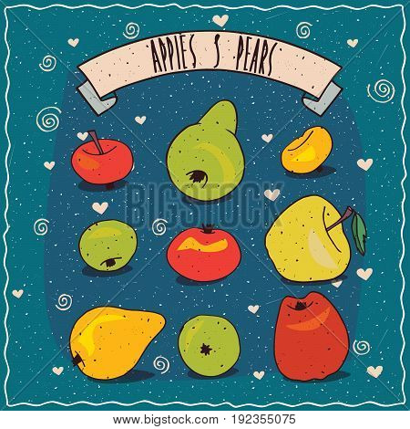 Set Of Fruits Clip Art Such As Apples And Pears