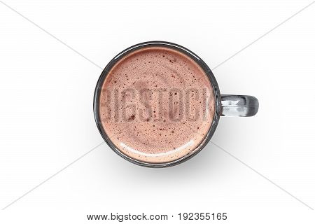 Cocoa in a glass cup on a white background isolation